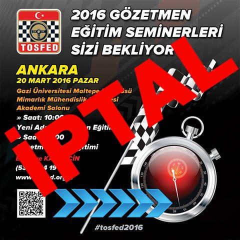 Ankara Gözetmen Eğitimleri İptal